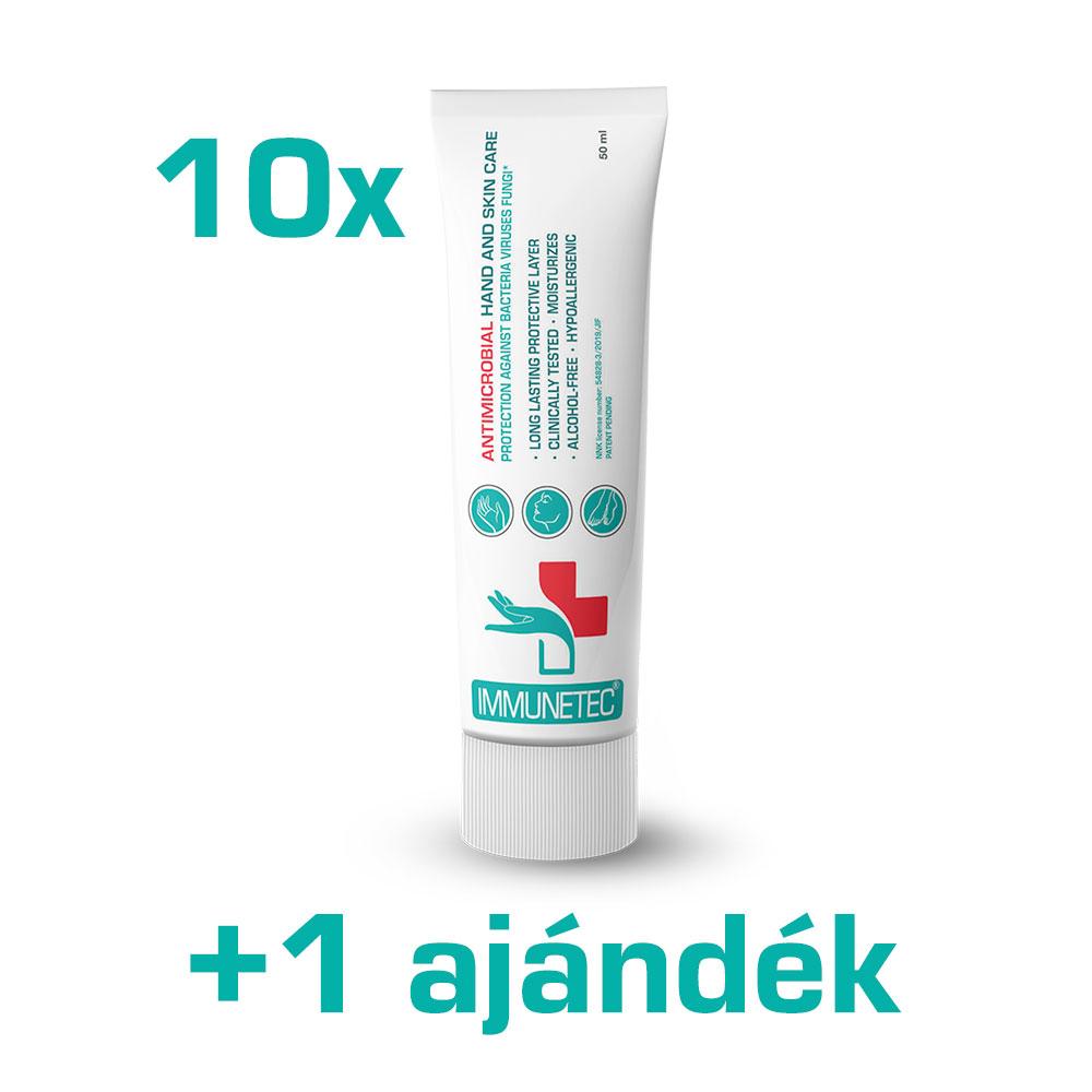 Immunetec antimikrobiális kéz- és bőrvédő krém - 10 + 1..